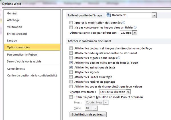Capture d'écran - Options avancées de Word 2010