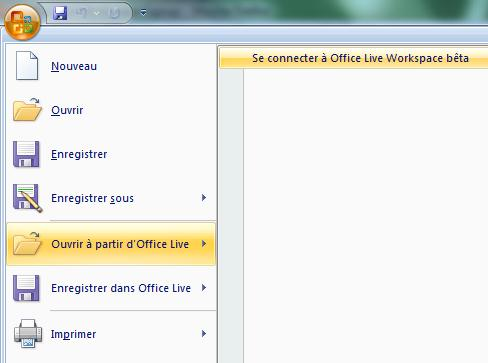 Capture décran - Menu Office, module de connexion à Office Live Workspace