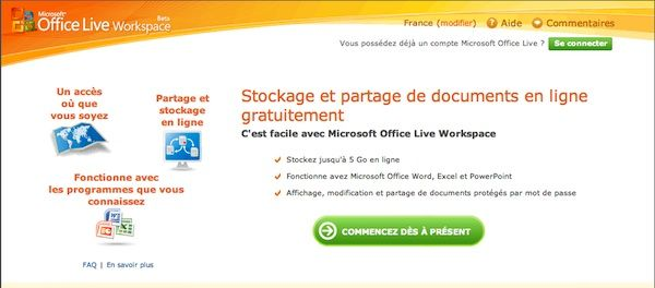 Capture décran - Site officiel de Office Live Workspace