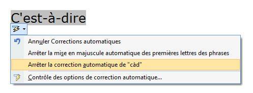 Capture décran - Test de la fonction de correction automatique nouvellement créée