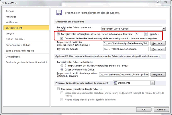 Capture d'écran - Options d'enregistrement de Word 2010
