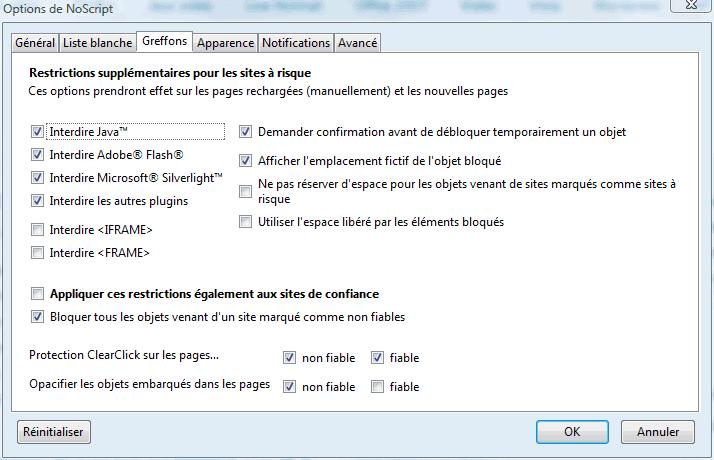 Options de NoScript (onglet Greffons ici)