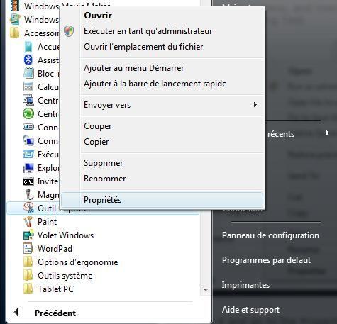 Capture d'écran - Outil Capture dans le menu Démarrer