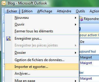 Capture décran - Outlook 2007, ouverture du menu Fichier