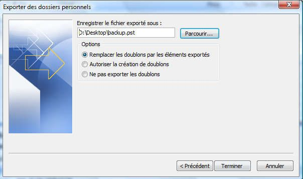 Capture décran - Outlook 2007, validation du processus dexportation