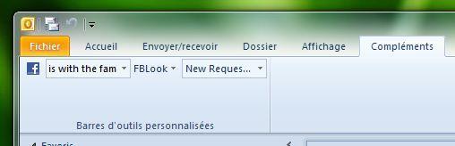 Capture d'écran - Outlook 2010, barre d'outils FBLook