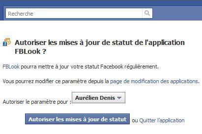 Capture d'écran - Autorisation requise pour lier FBLook et votre compte Facebook