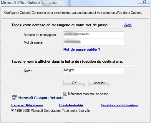 Capture décran - Gestionnaire de connexion dans Outlook Connector