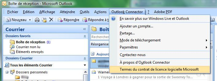 Capture décran - Outlook 2007, configuration de Outlook Connector