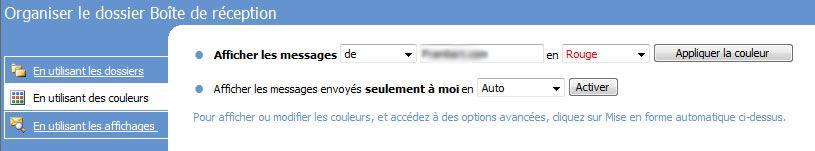 Capture d'écran - Outlook 2007, organisation de la boîte de réception