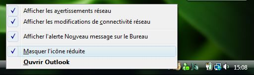 Capture d'écran - Systray ou zone de notification de Windows Vista