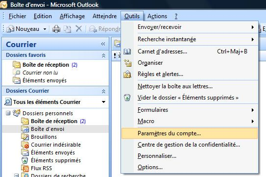 Capture d'écran - Outlook 2007, configuration d'un compte POP