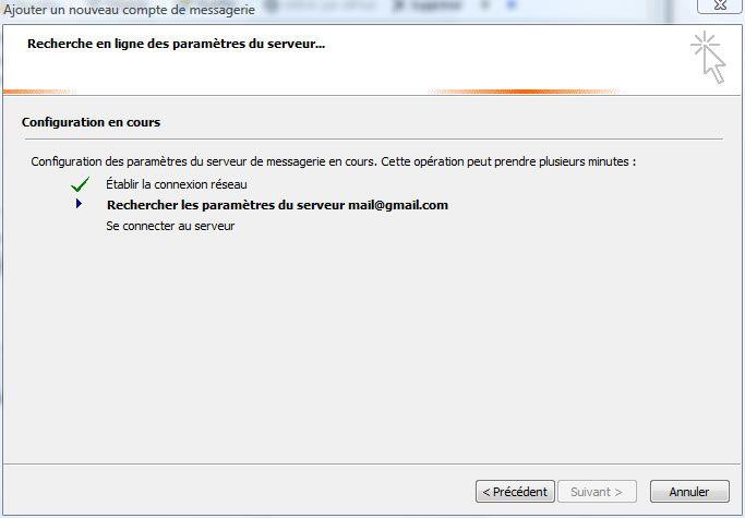 Capture d'écran - Outlook 2007, configuration d'un compte POP