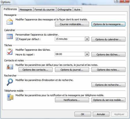 Capture d'écran - Outlook 2007, options