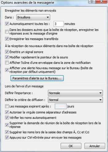 Capture d'écran - Outlook 2007, options avancées de la messagerie