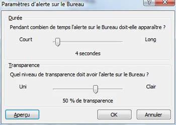 Capture d'écran - Outlook 2007, paramétres d'alertes sur le Bureau