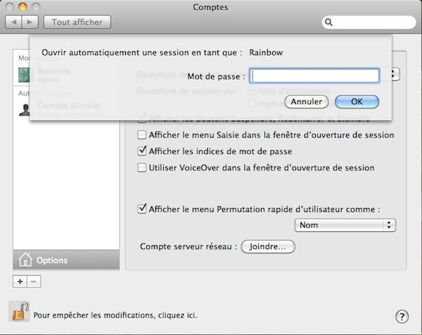 Capture d'écran - Options d'ouverture de session automatique sous MacOS X Snow Leopard