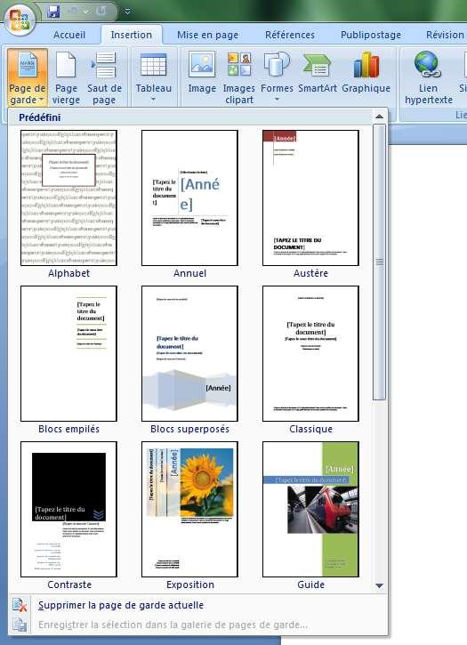 ajouter une page de garde dans un document word 2007