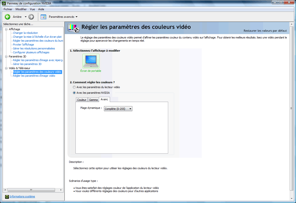 Panneau de configuration Nvidia : paramètres des couleurs vidéo