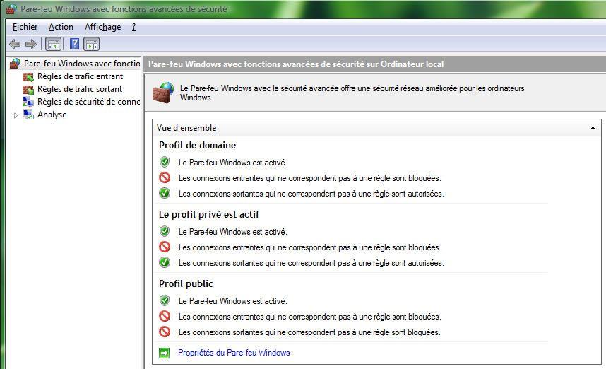 Capture d'écran - Pare-feu Windows avec fonctions avancées de sécurité