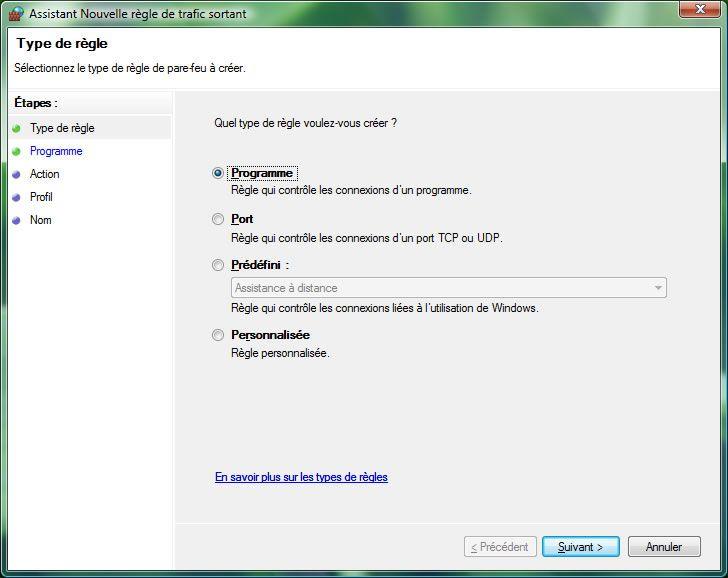 Capture d'écran - Pare-feu Windows, ajout d'un nouvelle règle de trafic sortant