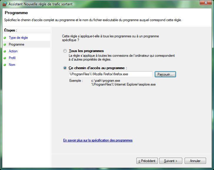 Capture d'écran - Pare-feu Windows, choix du programme à ajouter