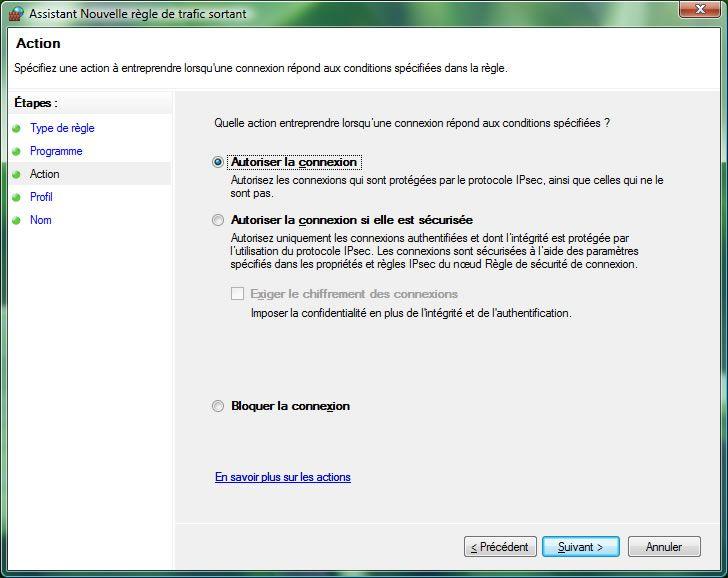 Capture d'écran - Pare-feu Windows, autorisation de la connexion