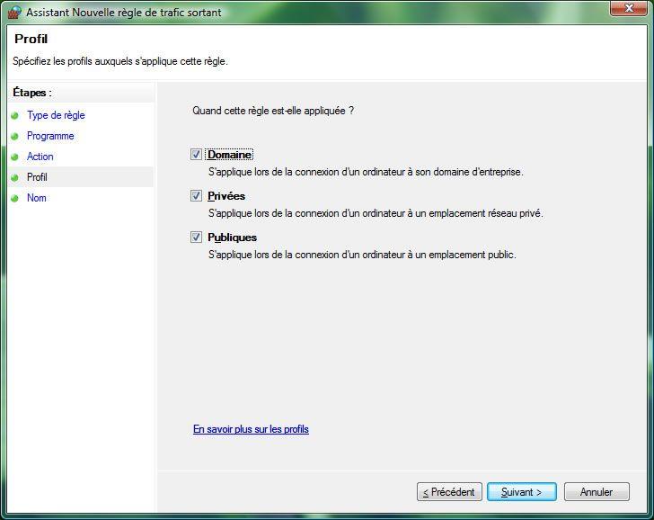Capture d'écran - Pare-feu Windows, choix du profil sur lequel la règle doit s'appliquer