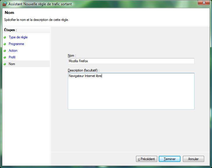 Capture d'écran - Pare-feu Windows, dénomination de la nouvelle règle