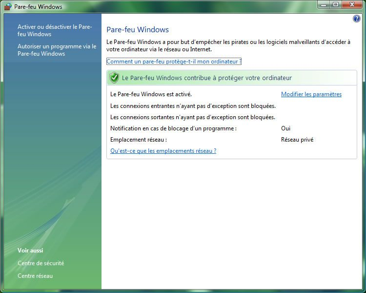Capture d'écran - Paramétrage du pare-feu classique de Windows Vista