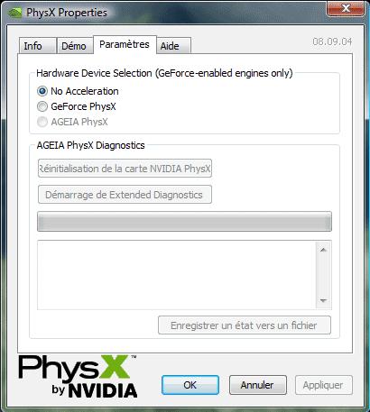 Propriétés PhysX Nvidia