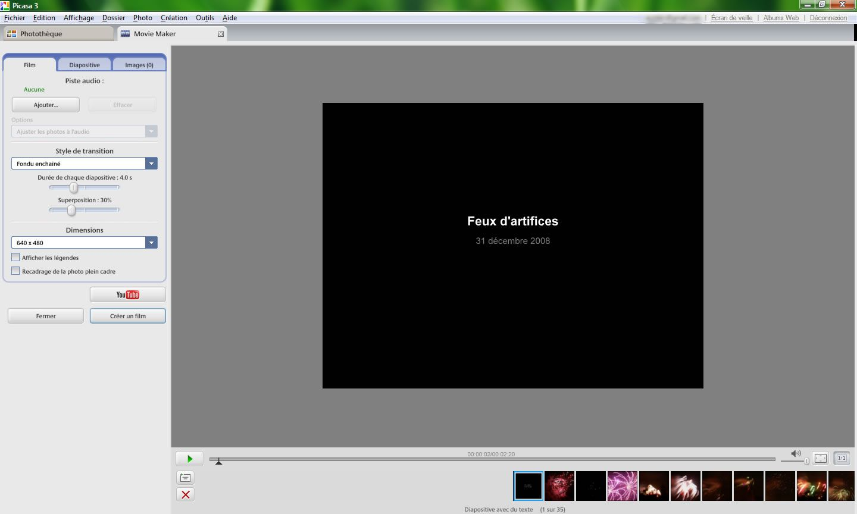 Capture décran - Picasa, création dun film photographique