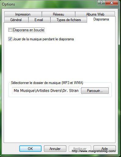 Capture d'écran - Picasa, options du diaporama
