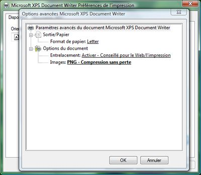 Capture d'écran - Options d'impression, Microsoft XPS Document Writer