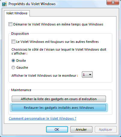 Propriétés du Volet Windows