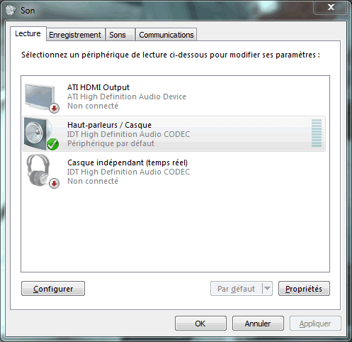 Capture d'écran - Options de configuration du Son sous Windows 7