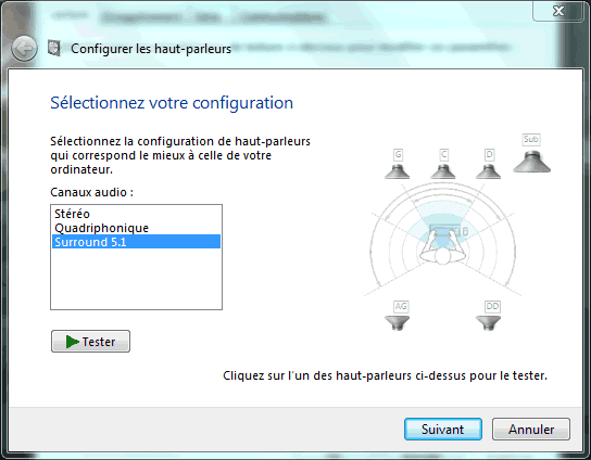 Capture d'écran - Configuration de votre installation sonore sous Windows 7