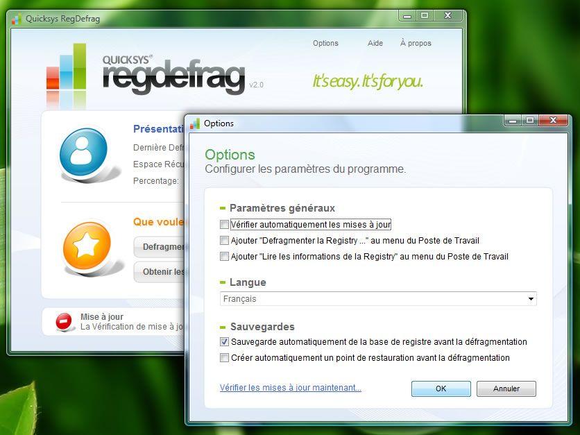 Capture d'écran - Quicksys RegDefrag, paramétrage des options