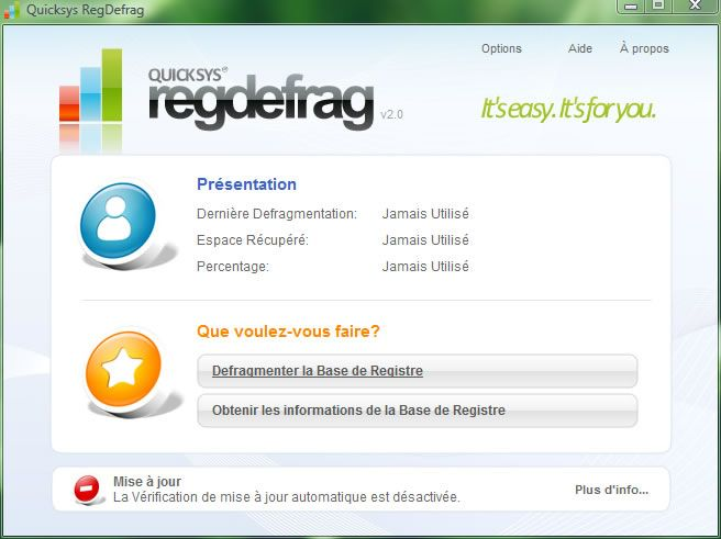 Capture d'écran - Quicksys RegDefrag, lancement du processus de défragmentation