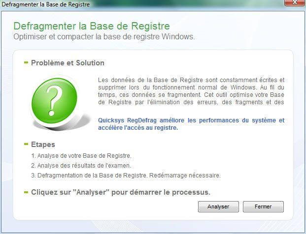 Capture d'écran - Quicksys RegDefrag, lancement de l'analyse du registre