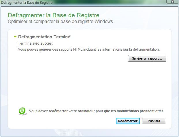 Capture d'écran - Quicksys RegDefrag, analyse du registre en cours