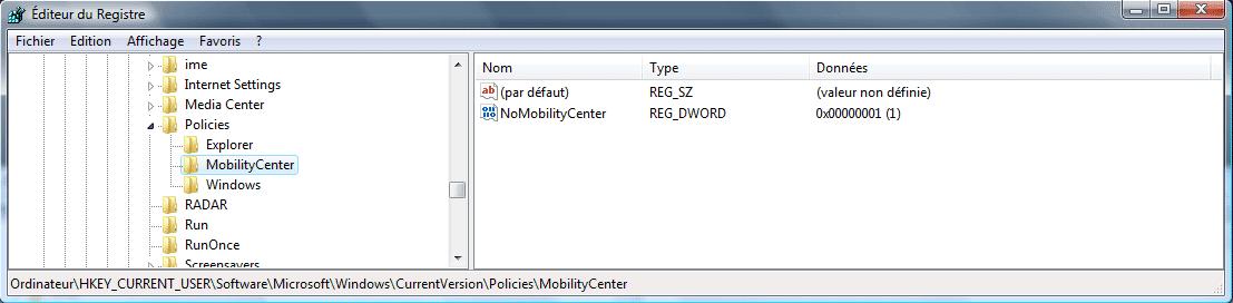 Créer la clé MobilityCenter si cette dernière nexiste pas