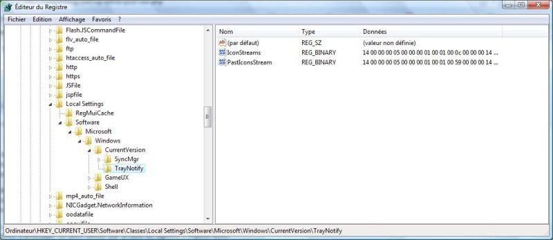 Capture d'écran - Editeur du Registre