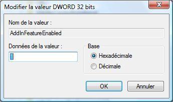 Capture d'écran - Nouvelle valeur DWORD 32 bits