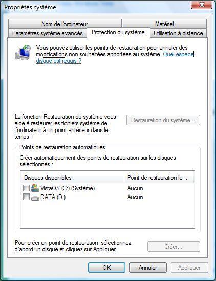 Capture d'écran - Protection du système