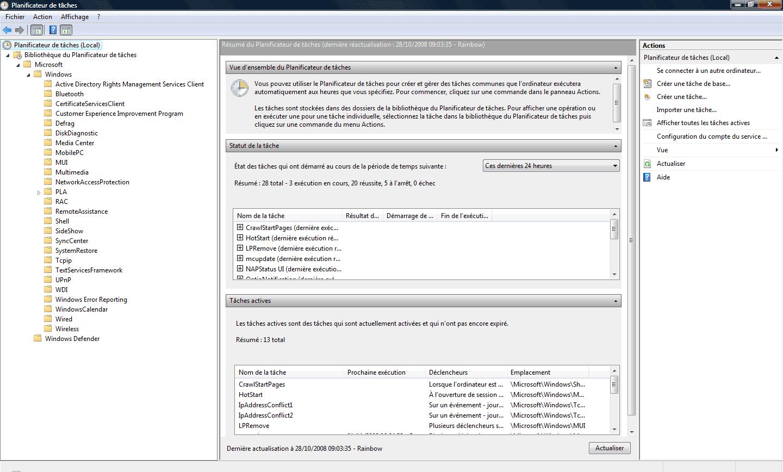 Vue générale du Planificateur de tâches
