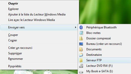 Capture d'écran - Commande Envoyer vers personnalisée dans Vista