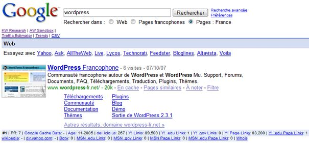 Capture d'écran - SEO for Firefox en action dans Google