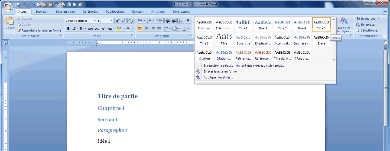 Menu des styles dans Word 2007