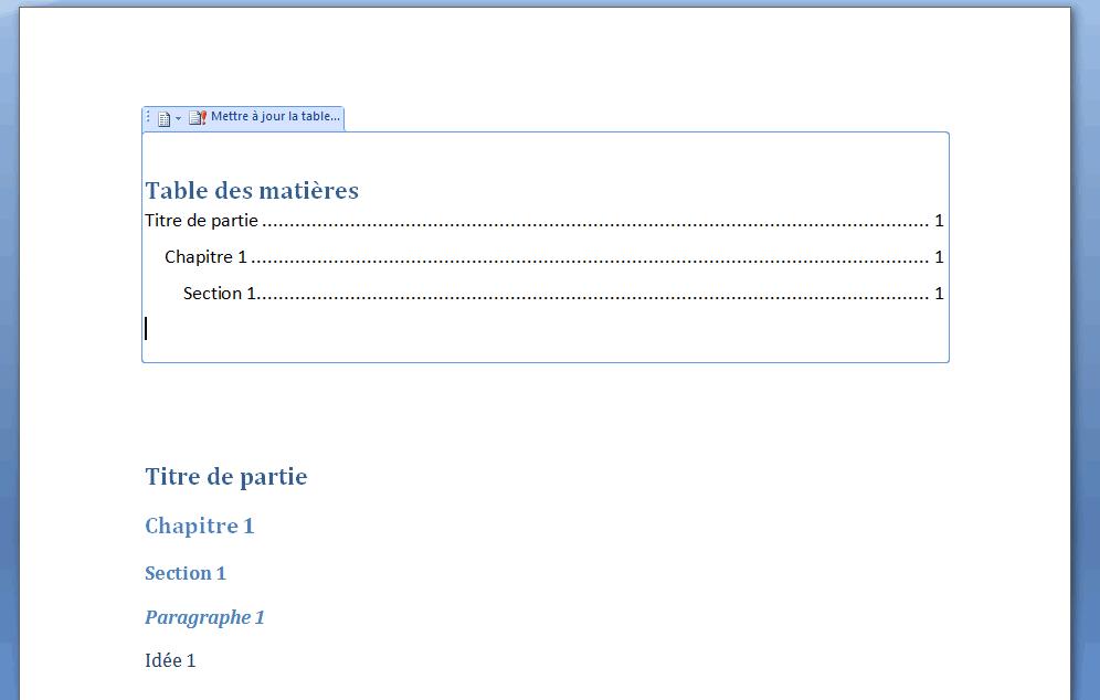 Un exemple de table des matières dans Word 2007